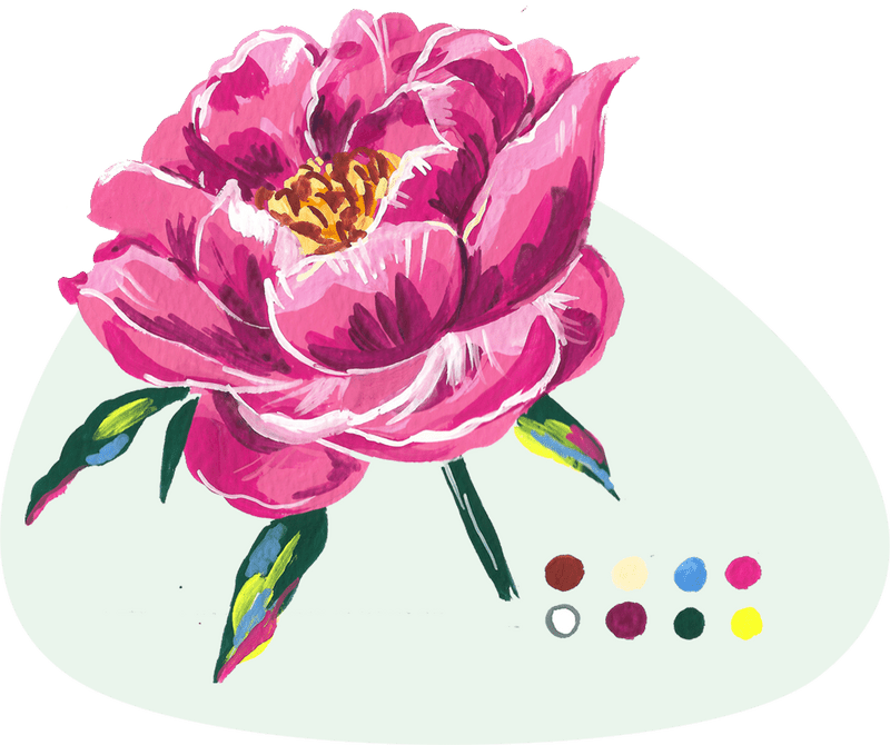 peony gouache project from the book