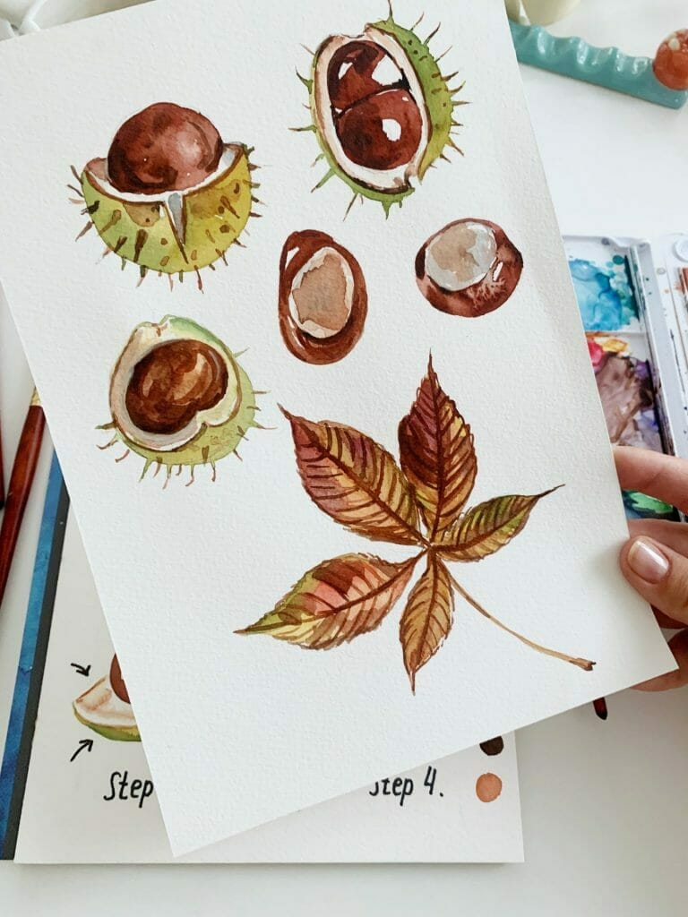 chestnuts and leaves watercolor painting